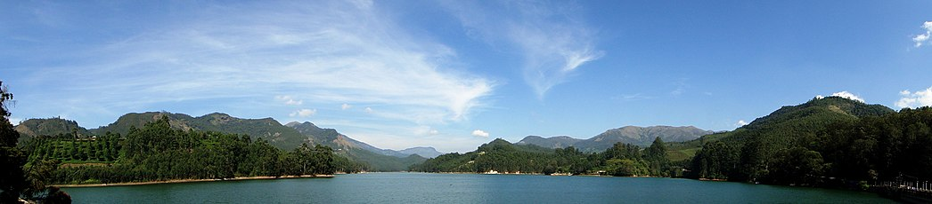 A panoramic view of Mattupetty Dam, Munnar