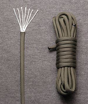 Kernmantle rope - Parachute cord is a type of lightweight nylon kernmantle rope.  The kern of this particular example is made up of seven two-ply yarns; the mantle is braided from 32 strands.