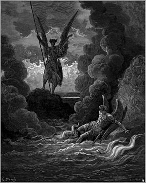 "Ulysses (poem) - ""Satan rises from the burning lake"" (1866) by Gustave Doré; a critical interpretation of the poem compares Ulysses' final sentiments with Satan's ""courage never to submit or yield"" in John Milton's Paradise Lost."
