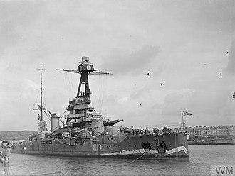 French battleship Paris - Paris leaving HM Dockyard, Devonport, July 1940