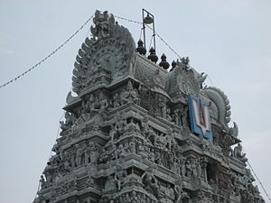 Elaborate carvings on the temple gopuram