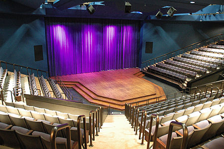 A thrust stage at the Pasant Theatre Pasant Theatre from seats.JPG