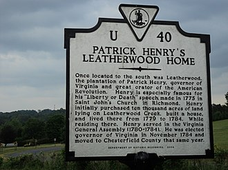 Henry County, Virginia - Virginia state historic marker for plantation of Patrick Henry, county's namesake, Leatherwood, Henry County