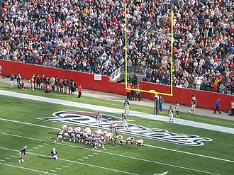 Conversion (gridiron football) - A typical lineup for an extra point, from the pre-2015 distance, in a 2007 NFL game between the New England Patriots and the Cleveland Browns.