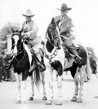 Miller Brothers 101 Ranch - Pawnee Bill and Zack Miller on horseback in Oklahoma