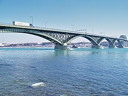The Peace Bridge between Fort Erie and Buffalo.