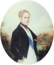 A painting depicting a light-haired young man standing in profile with head turned toward the viewer and wearing a black cutaway coat, white vest and white trousers with a blue sash of office over the vest and the Order of the Golden Fleece suspended on a red ribbon around his neck