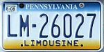 Pennsylvania Limousine License PlateLM-26027.jpg