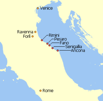 Pentapolis - The Pentapolis on the Adriatic was part of the Exarchate of Ravenna, an administrative unit of the Byzantine Empire. Red: The Pentapolis. Orange: Other cities of the Exarchate.
