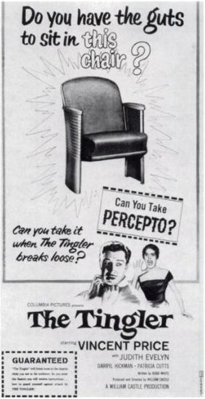 "B movies (Transition in the 1950s) - An ad for The Tingler (1959), focusing on William Castle's Percepto gimmick. ""GUARANTEED: 'The Tingler' will break loose in the theatre while you are in the audience. As you enter the theatre you will receive instructions how to guard yourself against attack by THE TINGLER!"""