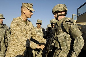 Peter Pace - Gen Pace meeting with soldiers of the 1st Cavalry Division in Iraq in December 2006