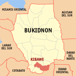Map of Bukidnon Province with Kibawe highlighted