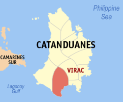 Map of Catanduanes with Virac highlighted