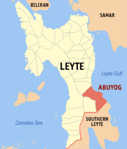 Map of Leyte with Abuyog highlighted