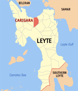 Map of Leyte with Carigara highlighted