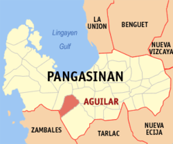 Map of Pangasinan showing the location of Aguilar