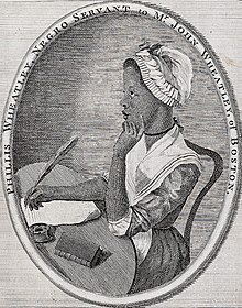 Phillis Wheatley (Scipio Moorheadin piirros Poems on Various Subjects runoteoksen kannessa.)