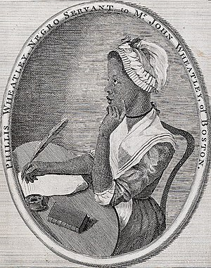 1773 in poetry - Phillis Wheatley, as illustrated by Scipio Moorhead in the frontispiece to her book Poems on Various Subjects.