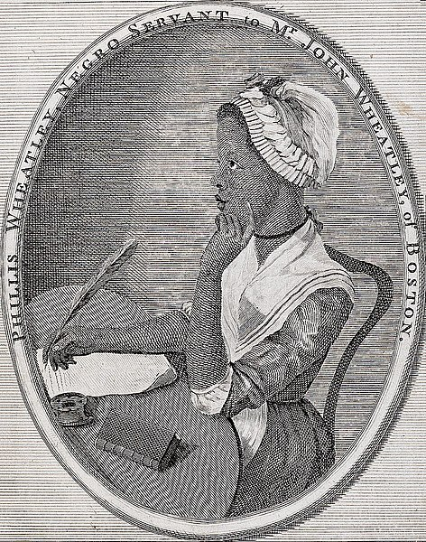 "Portrait of Phillis Wheatley (woodcut). Caption on image says, ""Phillis Wheatley, Negro Servant to Mr. John Wheatley, of Boston."""