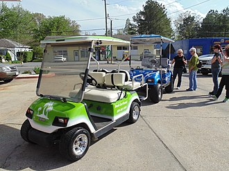 Colonial Beach, Virginia - Golf carts in downtown Colonial Beach