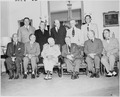 Photograph of President Truman with his Cabinet, at Blair House, (seated, left to right) Secretary of Defense Louis... - NARA - 200166.tif