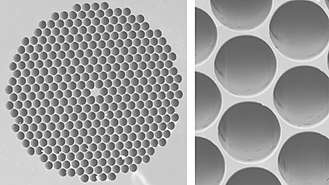 Photonic-crystal fiber - SEM micrographs of a photonic-crystal fiber produced at US Naval Research Laboratory. (left) The diameter of the solid core at the center of the fiber is 5 µm, while (right) the diameter of the holes is 4 µm