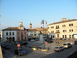Piazza Garibaldi with the Town Hall.