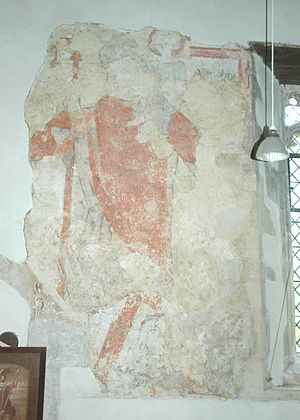 Piddington, Oxfordshire - St Nicholas' parish church: medieval mural of Saint Christopher carrying Jesus Christ across a river