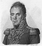 Black and white print of glum-looking man with wavy hair. He wears a Napoleonic-era military uniform with epaulettes and lots of gold lace.