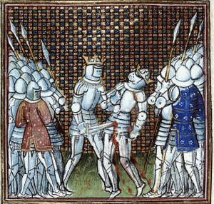 Peter of Castile - Henry II kills his predecessor Peter, in an early illustration to Froissart's Chronicles