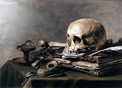 Skull on table 'Vanitas, by Pieter Claesz, painted in 1630 from the Mauritzhuis, The Hague