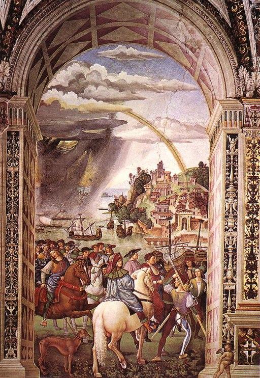 Pinturicchio, Libreria Piccolomini, Enea Silvio Piccolomini parte per il concilio di Basilea