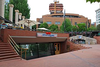 KGW - Exterior of KGW's 2009-opened studio at Pioneer Courthouse Square.