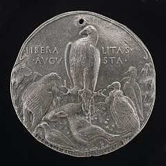 Eagle and Lesser Birds of Prey in a Rocky Landscape [reverse]