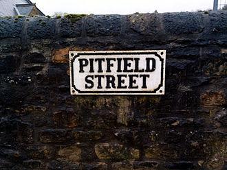Pit village - Pitfield Street sign, Pit Village, Beamish Museum