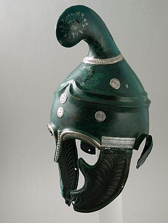 Phrygian helmet - Phrygian or Thracian helmet. Unusually, it has a nasal in place of the typical peak.