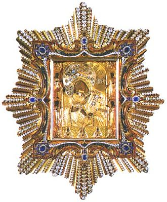 Pochayiv Lavra - Holy icon of the Theotokos of Pochaiv, set in the golden diadem presented by Pope Clement XIV.