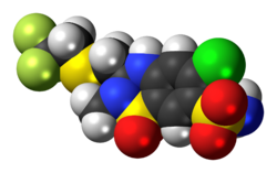 Space-filling model of the polythiazide molecule
