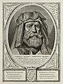 Portret van Albrecht van Beieren, graaf van Holland en Henegouwen. Hij draagt een harnas en een hoofdtooi. De omlijsting is versierd met het wapen van Holland. NL-HlmNHA 1477 53012919.JPG