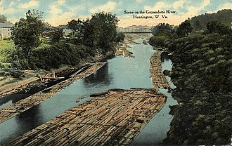 Guyandotte River - 1912 postcard picture of river at Huntington, West Virginia