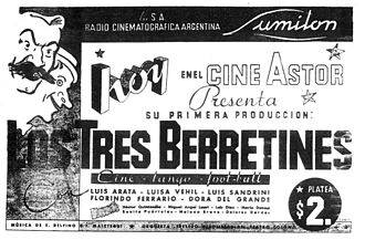 Lumiton - poster for Los tres berretines (1933), the studio's first film