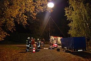 Balloon light - Tripod-mounted balloon light in an incident management application.