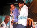 Prabhudeva and Salman Khan dancing at Wanted press meet.jpg