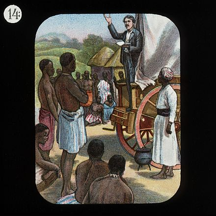 Livingstone preaching the gospel to unconverted Africans. Like other missionaries of the era he had a low success rate and is credited with a single conversion. Preaching from a Waggon (David Livingstone) by The London Missionary Society.jpg