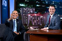 President Barack Obama talks with Jimmy Kimmel during a Jimmy Kimmel Live! video taping in Los Angeles, California, March 12, 2015. (Official White House Photo by Pete Souza).jpg