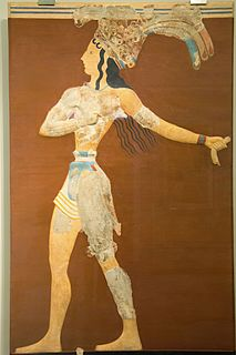 Prince of the Lilies Minoan mural painting from Knossos, Crete
