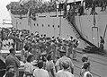 Priok op 4 mei 1948 vertrekt het 1e Bataljon Jagers met de Groote Beer naar h, Bestanddeelnr 1650-1-5.jpg