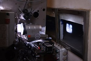 Movie projector - 35 mm movie projector in operation.