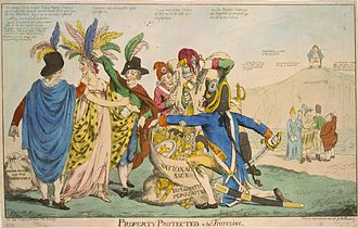 XYZ Affair - A British political cartoon depicting the affair: The United States is represented by Columbia, who is being plundered by five Frenchmen, including a character wearing the Phrygian cap – a representation of revolutionary, republican France.  The figures grouped off to the right are other European countries; John Bull, representing Great Britain, sits laughing on the white cliffs of Dover depicted as a hill.