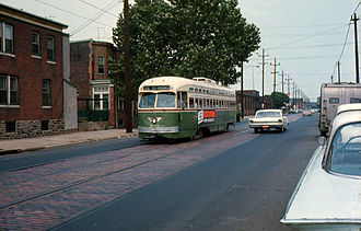 SEPTA Route 56 - Southbound Route 56 PCC car on Torresdale Avenue in July, 1968